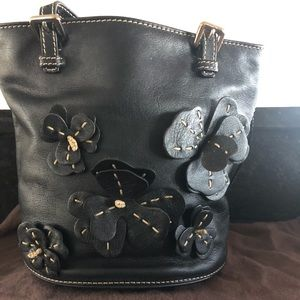 Celine Black Leather Flower Appliqué Bucket Bag
